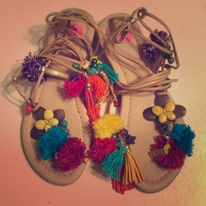 🌸🌺🦄 Boho lace up sandals 🌸 🌺
